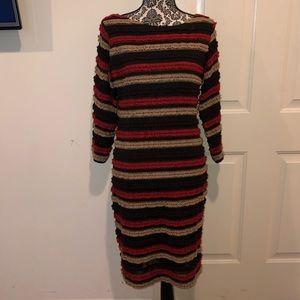 Ruffle striped bodycon dress